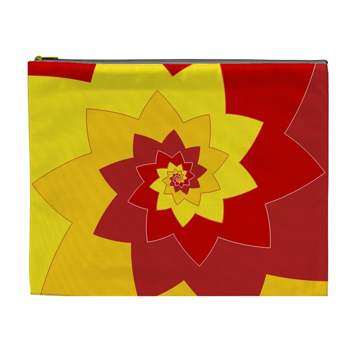 Flower Blossom Spiral Design  Red Yellow Cosmetic Bag (XL)