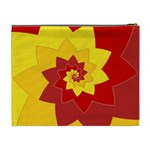 Flower Blossom Spiral Design  Red Yellow Cosmetic Bag (XL) Back