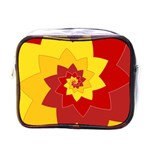 Flower Blossom Spiral Design  Red Yellow Mini Toiletries Bags Front