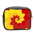 Flower Blossom Spiral Design  Red Yellow Mini Toiletries Bag 2-Side Back