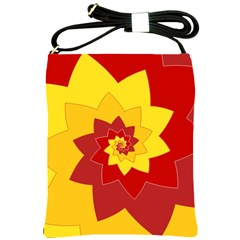 Flower Blossom Spiral Design  Red Yellow Shoulder Sling Bags