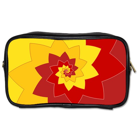 Flower Blossom Spiral Design  Red Yellow Toiletries Bags 2-Side