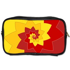 Flower Blossom Spiral Design  Red Yellow Toiletries Bags 2 Side