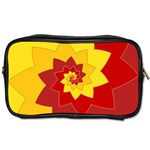 Flower Blossom Spiral Design  Red Yellow Toiletries Bags 2-Side Front