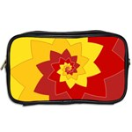 Flower Blossom Spiral Design  Red Yellow Toiletries Bags 2-Side Back