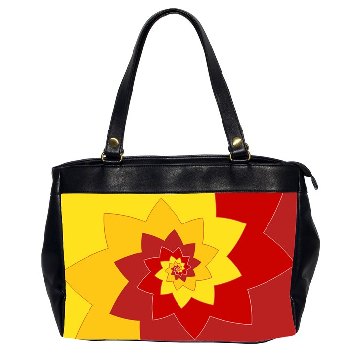 Flower Blossom Spiral Design  Red Yellow Office Handbags (2 Sides)