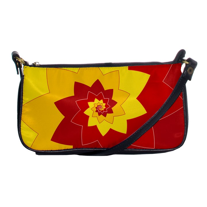 Flower Blossom Spiral Design  Red Yellow Shoulder Clutch Bags