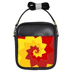 Flower Blossom Spiral Design  Red Yellow Girls Sling Bags