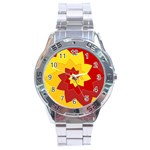 Flower Blossom Spiral Design  Red Yellow Stainless Steel Analogue Watch Front