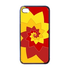 Flower Blossom Spiral Design  Red Yellow Apple iPhone 4 Case (Black)