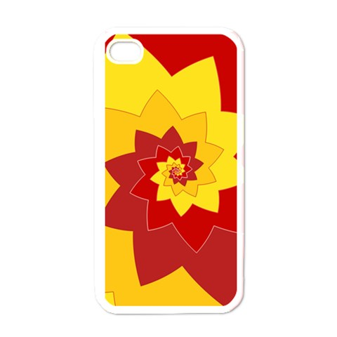 Flower Blossom Spiral Design  Red Yellow Apple iPhone 4 Case (White)