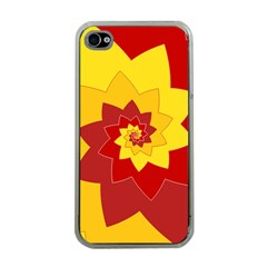 Flower Blossom Spiral Design  Red Yellow Apple iPhone 4 Case (Clear)