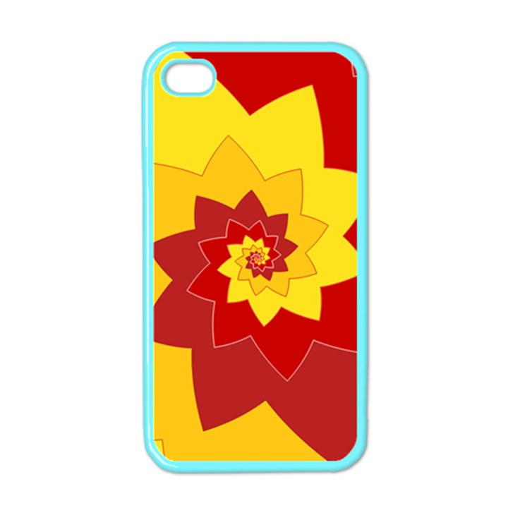 Flower Blossom Spiral Design  Red Yellow Apple iPhone 4 Case (Color)