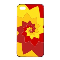Flower Blossom Spiral Design  Red Yellow Apple iPhone 4/4s Seamless Case (Black)