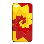 Flower Blossom Spiral Design  Red Yellow Apple iPhone 4/4s Seamless Case (Black) Front