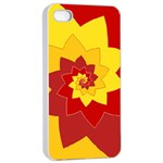 Flower Blossom Spiral Design  Red Yellow Apple iPhone 4/4s Seamless Case (White) Front