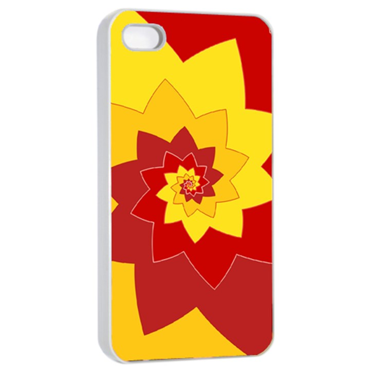 Flower Blossom Spiral Design  Red Yellow Apple iPhone 4/4s Seamless Case (White)
