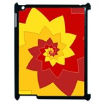 Flower Blossom Spiral Design  Red Yellow Apple iPad 2 Case (Black) Front