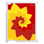 Flower Blossom Spiral Design  Red Yellow Apple iPad 2 Case (White) Front