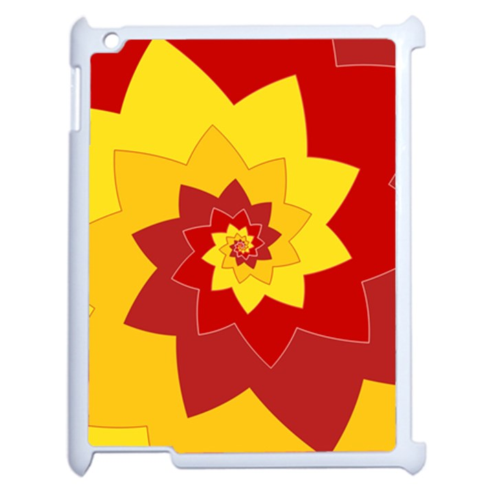 Flower Blossom Spiral Design  Red Yellow Apple iPad 2 Case (White)