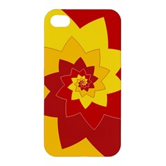 Flower Blossom Spiral Design  Red Yellow Apple iPhone 4/4S Hardshell Case