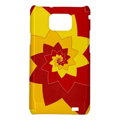 Flower Blossom Spiral Design  Red Yellow Samsung Galaxy S2 i9100 Hardshell Case