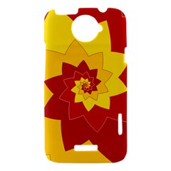 Flower Blossom Spiral Design  Red Yellow HTC One X Hardshell Case