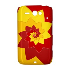 Flower Blossom Spiral Design  Red Yellow HTC ChaCha / HTC Status Hardshell Case