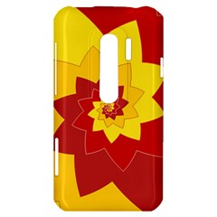 Flower Blossom Spiral Design  Red Yellow HTC Evo 3D Hardshell Case