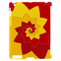 Flower Blossom Spiral Design  Red Yellow Apple iPad 2 Hardshell Case (Compatible with Smart Cover)