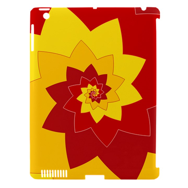 Flower Blossom Spiral Design  Red Yellow Apple iPad 3/4 Hardshell Case (Compatible with Smart Cover)