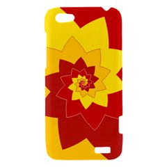 Flower Blossom Spiral Design  Red Yellow HTC One V Hardshell Case