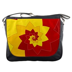 Flower Blossom Spiral Design  Red Yellow Messenger Bags