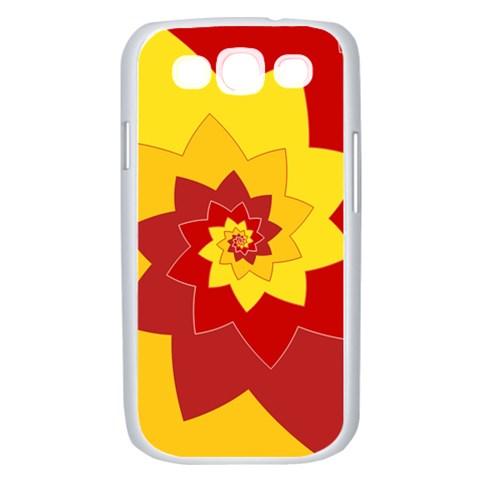 Flower Blossom Spiral Design  Red Yellow Samsung Galaxy S III Case (White)