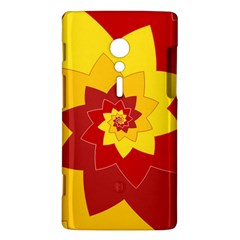 Flower Blossom Spiral Design  Red Yellow Sony Xperia ion