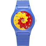 Flower Blossom Spiral Design  Red Yellow Round Plastic Sport Watch (S) Front