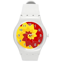 Flower Blossom Spiral Design  Red Yellow Round Plastic Sport Watch (M)