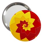 Flower Blossom Spiral Design  Red Yellow 3  Handbag Mirrors Front