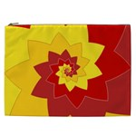 Flower Blossom Spiral Design  Red Yellow Cosmetic Bag (XXL)  Front