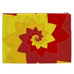 Flower Blossom Spiral Design  Red Yellow Cosmetic Bag (XXL)  Back