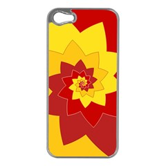 Flower Blossom Spiral Design  Red Yellow Apple iPhone 5 Case (Silver)
