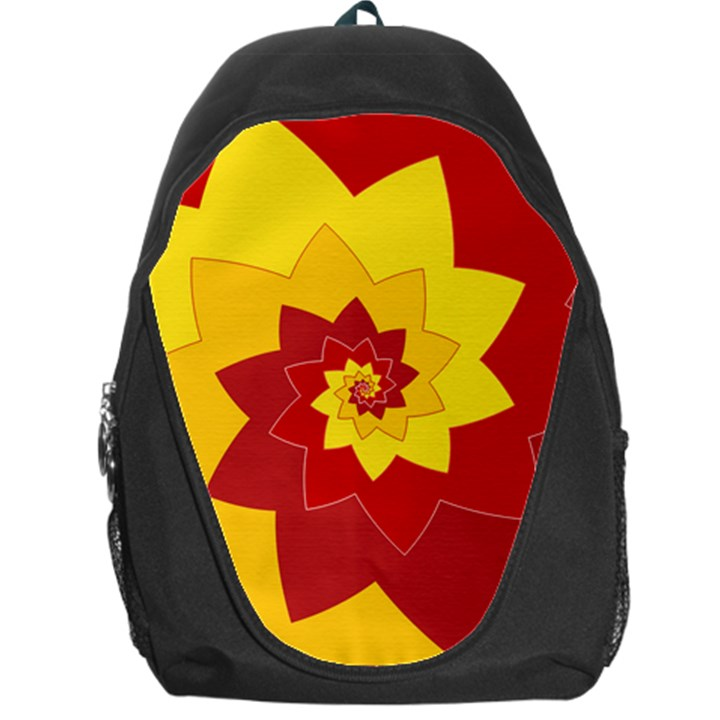 Flower Blossom Spiral Design  Red Yellow Backpack Bag