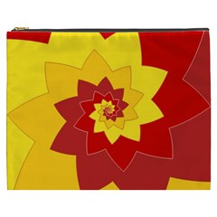 Flower Blossom Spiral Design  Red Yellow Cosmetic Bag (XXXL)