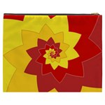 Flower Blossom Spiral Design  Red Yellow Cosmetic Bag (XXXL)  Back