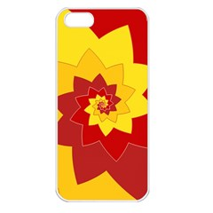 Flower Blossom Spiral Design  Red Yellow Apple iPhone 5 Seamless Case (White)