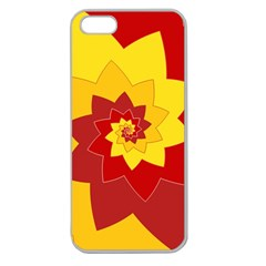 Flower Blossom Spiral Design  Red Yellow Apple Seamless iPhone 5 Case (Clear)