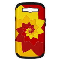 Flower Blossom Spiral Design  Red Yellow Samsung Galaxy S III Hardshell Case (PC+Silicone)