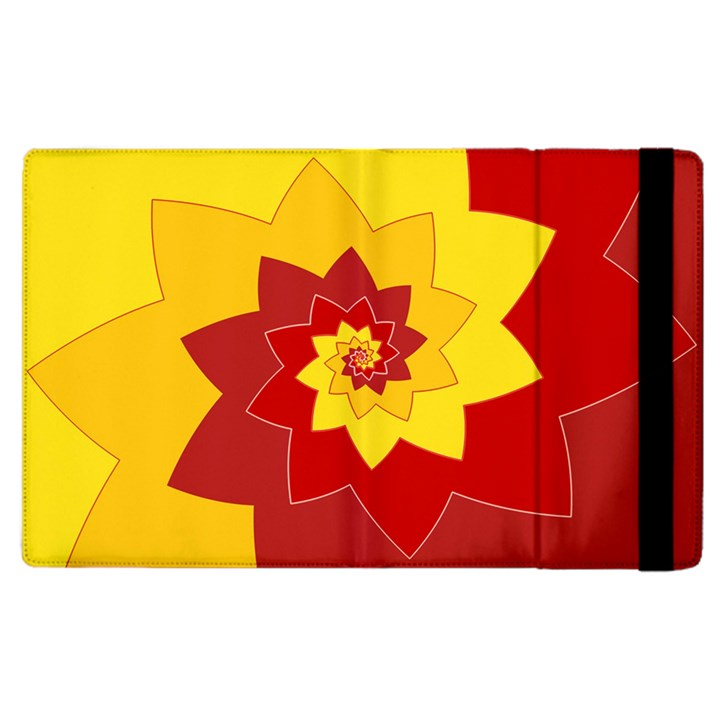 Flower Blossom Spiral Design  Red Yellow Apple iPad 3/4 Flip Case