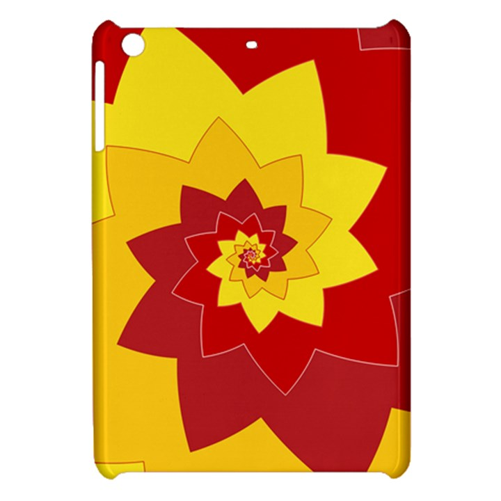 Flower Blossom Spiral Design  Red Yellow Apple iPad Mini Hardshell Case
