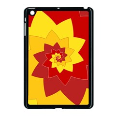 Flower Blossom Spiral Design  Red Yellow Apple iPad Mini Case (Black)